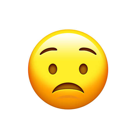 The emoji yellow sad, upset face with frown icon Stock Photo
