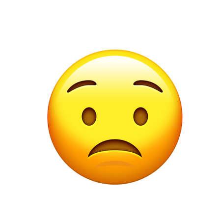 The emoji yellow sad, upset face with frown icon 版權商用圖片