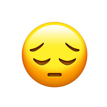 eyes are closed: The emoji yellow disappointed, upset face and closing eyes icon