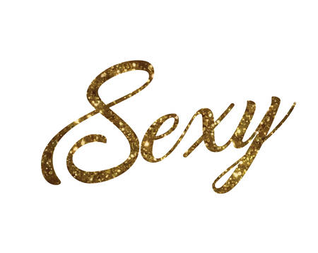 The Golden glitter of isolated hand writing word SEXY