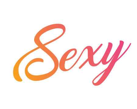 Gradient pink to orange isolated hand writing word sexy Illustration