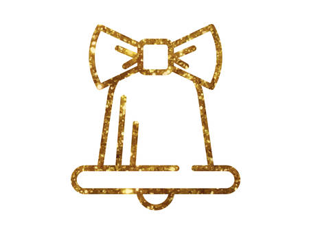 Golden glitter Christmas bell decoration with ribbon line icon Illustration