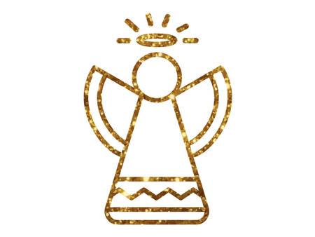 황금 반짝이 크리스마스 천사 선 아이콘 일러스트