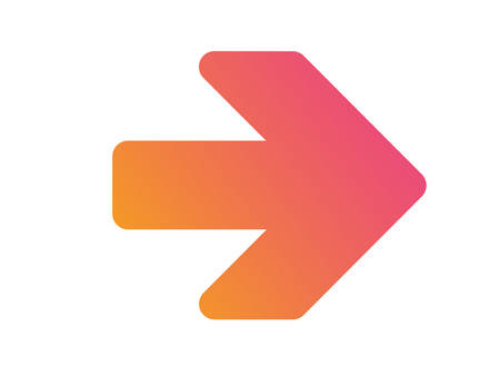 The gradient orange to pink isolated arrow flat icon