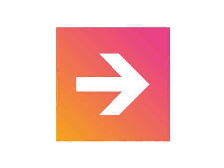 グラデーションオレンジからピンクの孤立した矢印フラットアイコン  イラスト・ベクター素材