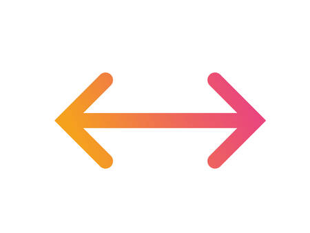 The Gradient orange to pink isolated line arrow flat icon Illustration