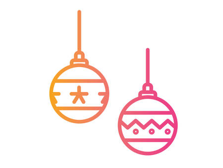 The vector gradient pink to orange Christmas ball deocoration icon