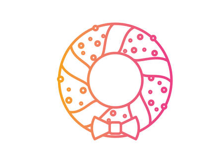 The vector Gradient pink to orange Christmas Door Wreath decoration line icon