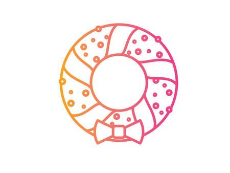 svg: The vector Gradient pink to orange Christmas Door Wreath decoration line icon