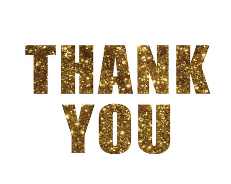 The Golden glitter isolated word THANK YOU