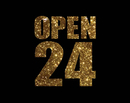 The Golden glitter isolated word shop open 24 hours Illustration