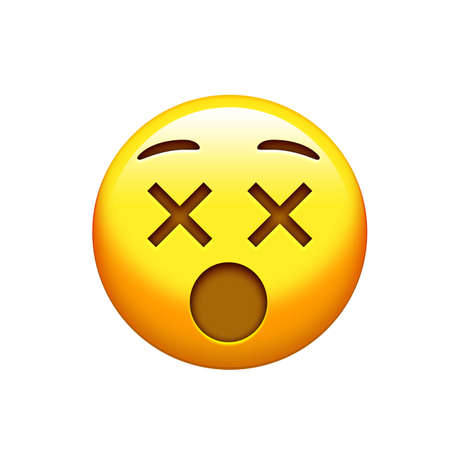 The isolated yellow surprise face with closing eyes icon 版權商用圖片