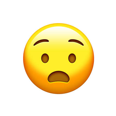 The isolated yellow surprise face with opened mouth icon