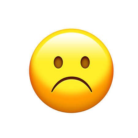 The Isolated yellow unhappy and upset face icon Stock Photo