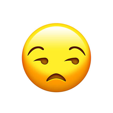The isolated emoji yellow gloss, upset face icon