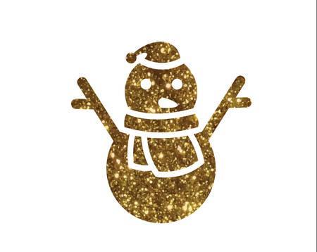 svg: Golden glitter christmas snowman.
