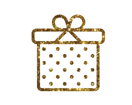 The isolated glitter golden holiday gift box icon.
