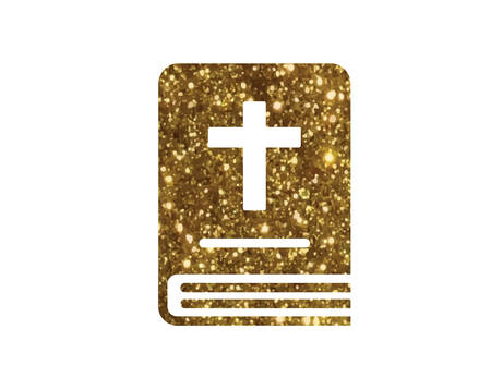 svg: The isolated glitter golden holy bible book icon.