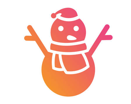 Isolated vector golden glitter Christmas snowman with scarf icon