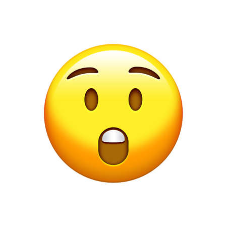 The isolated yellow surprise and yelling face with opened mouth icon