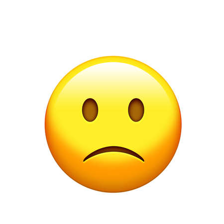 The osolated yellow sad and unhappy face icon
