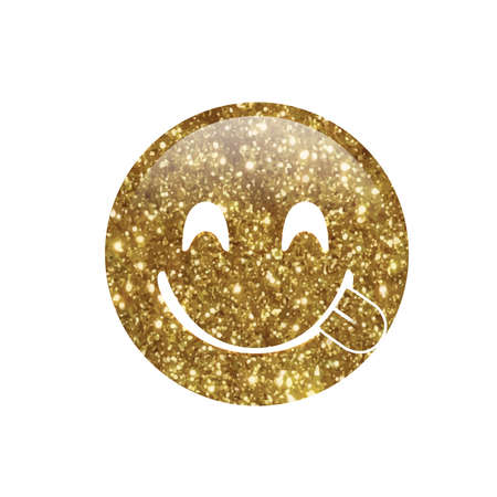 The isolated Glitter golden smiley and tasting food face with tongue out icon Reklamní fotografie