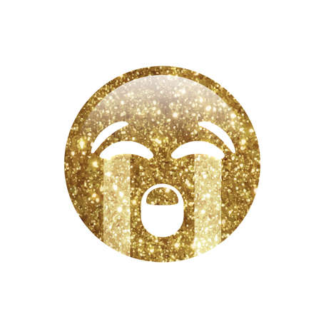 The Golden glitter emoji sad face with crying tear icon