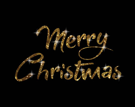 The golden glitter isolated hand writing word Merry Christmas on black background.