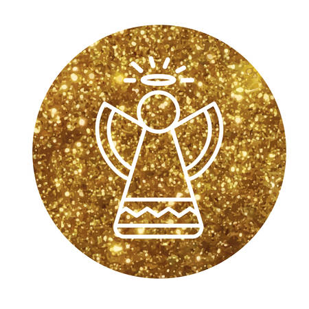 The Circle vector golden glitter Christmas angel flat icon Illustration