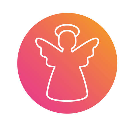 Isolated colorful gradient Christmas angel flat icon.
