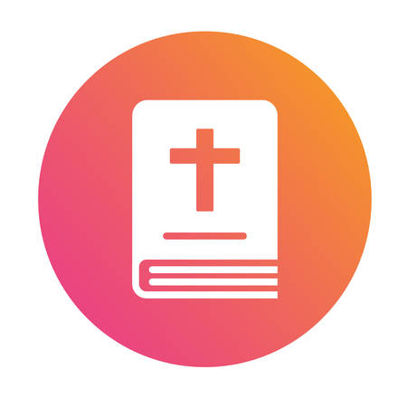 Isolated pink to orange gradient holy bible book icon.