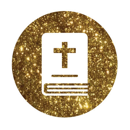 The isolated glitter golden holy bible book icon.