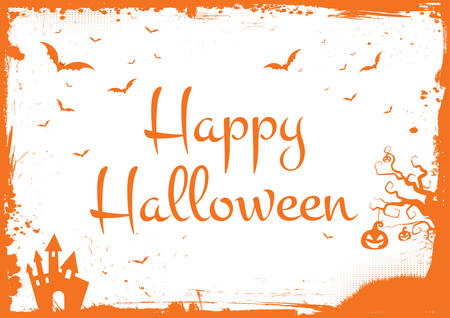 Horizontal Happy Halloween glitter orange text with bats, pumpkin and scary house border Illustration