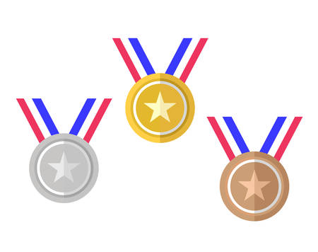 The Gold, Silver, Bronze Competition Award Prize in vector format. Illustration