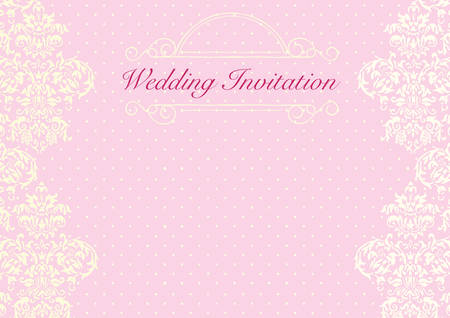 The Pink Wedding Invitation Card Background Template With Yellow