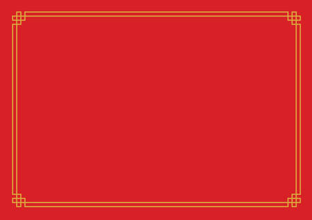 international paper size red chinese new year empty background with traditional golden border stock vector