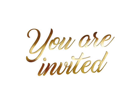 The Golden glitter isolated hand writing word YOU ARE INVITED on white background