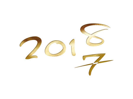 The golden glitter isolated hand writing word year 2018 on white background Stock Photo