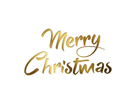 The Golden glitter isolated hand writing word MERRY CHRISTMAS on white background