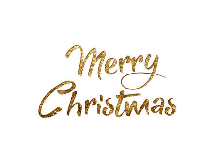 The Golden glitter isolated hand writing word MERRY CHRISTMAS N on black background Banco de Imagens - 91177557