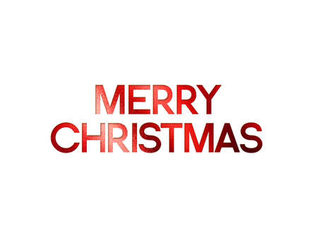 The red glitter isolated hand writing word MERRY CHRISTMAS on white background 스톡 콘텐츠