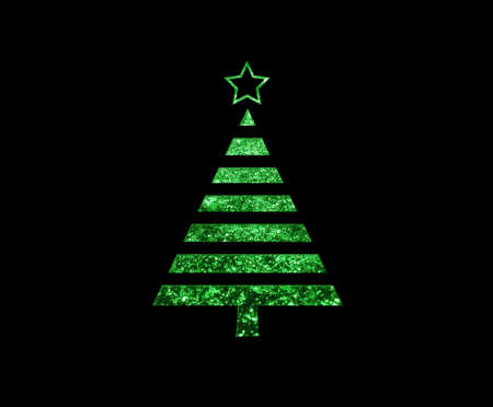 The isolated green glitter Christmas tree flat icon on black background