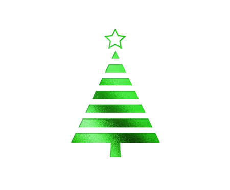 The isolated green Christmas tree flat icon on black background Stock Photo