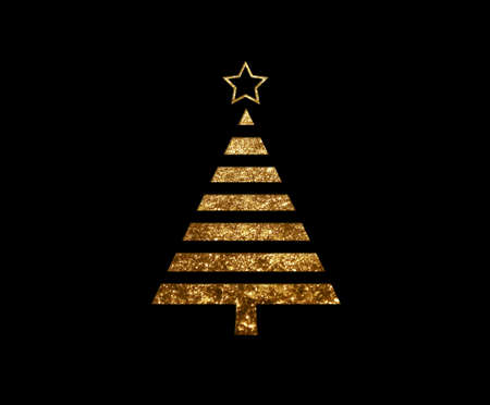 The isolated golden glitter Christmas tree flat icon on black background