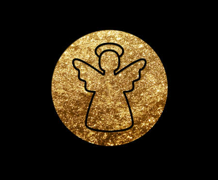 The isolated golden glitter Christmas angel flat icon on black background