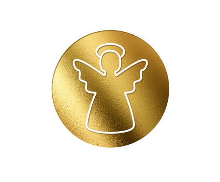 The isolated golden glitter Christmas angel flat icon on white background
