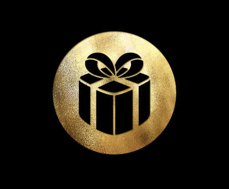 The isolated golden glitter Christmas gift box flat icon on black background