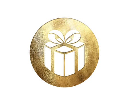 The isolated golden glitter Christmas gift box flat icon on white background