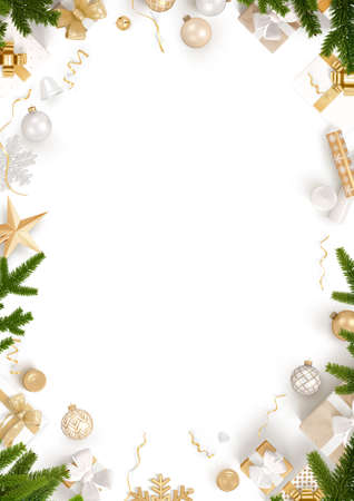 The New Year decoration border and blank white template background