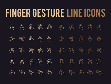 Finger gesture vector line icon for app and mobile website responsive.